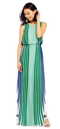 Colorblock Stripe Print Blouson Maxi Dress