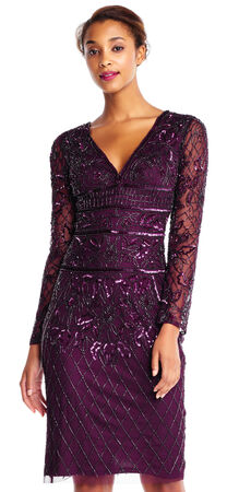 Beaded Sheath Cocktail Dress with Sheer Long Sleeves