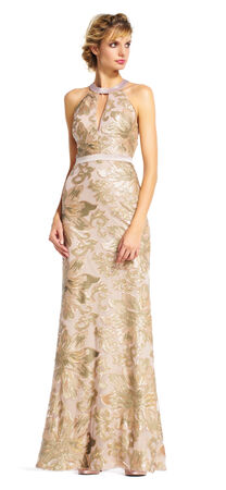 Sequin Filigree and Floral Halter Dress with Open Back