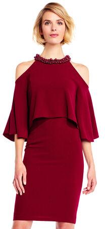 Cold Shoulder Popover Dress with Jeweled Neckline