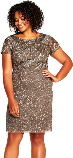 1920s Plus Size Dresses & Quality Costumes Short Sleeve Sequin Cocktail Dress with Beaded Design $237.15 AT vintagedancer.com