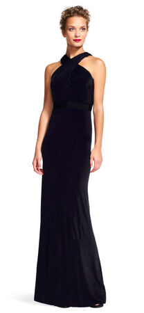 Jersey Halter Dress with Cross Over Neckline