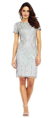 Short Sleeve Beaded Sheath Cocktail Dress with Scoopback