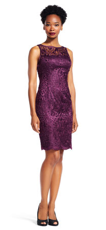 Embroidered Lace Sheath Dress with Sheer Neckline