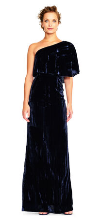 One Shoulder Velvet Gown with Draped Details