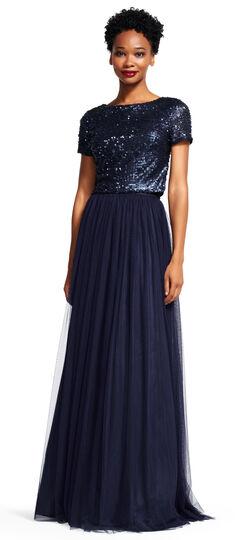 Short Sleeve Sequin Dress Set with Tulle Skirt