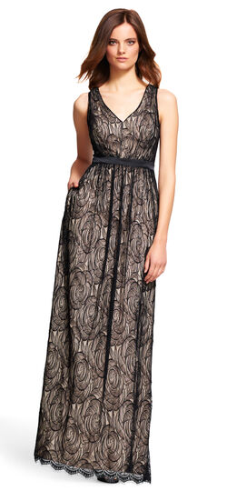 Floral Lace Gown with Satin Waist