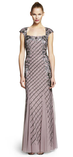 Fully Beaded Gown with Godets
