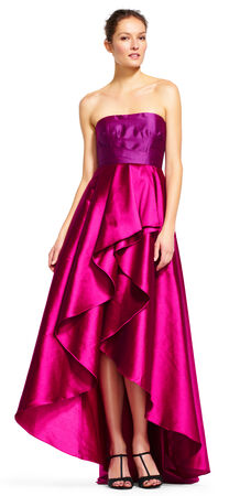 Strapless Two Tone Dress with Ruffled Ball Skirt