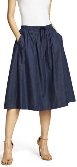 Chambray Flare Skirt with Drawstring Waist