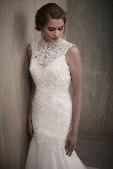 High Neckline Beaded Lace Bodice Organza Wedding Gown with Keyhole Back - 31025