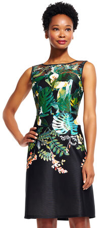 Floral Oasis Embroidered A-Line Dress with Sheer Neckline