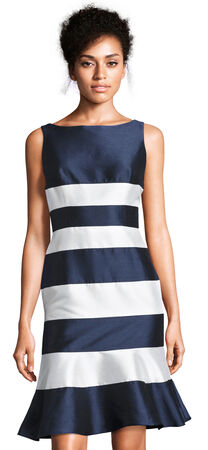 Sleeveless Stripe Dress with Drop Waist