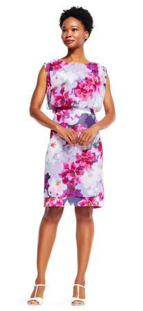 Floral Blouson Dress with Cut Out Back