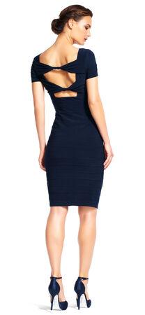 Short Sleeve Banded Sheath Dress with Bow Back