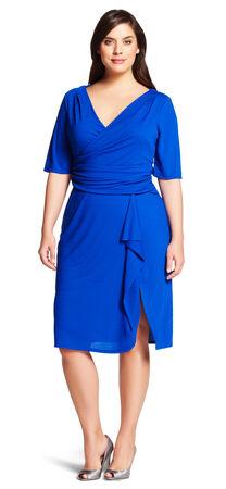 Draped Jersey Faux Wrap Dress