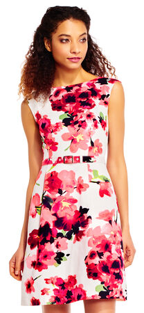 Poppy Faille Fit and Flare Dress with Belted Waist