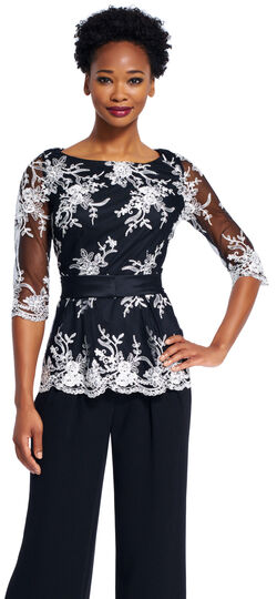 Floral Embroidered Peplum Top