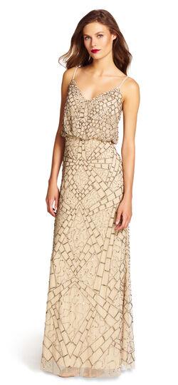 Sleevelesss Beaded Blouson Gown