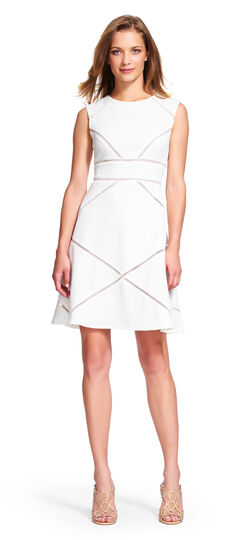 Textured Fit and Flare Dress with Sheer Insets
