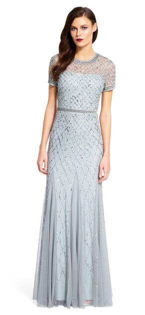 Cap Sleeve Beaded Gown $320.00 AT vintagedancer.com