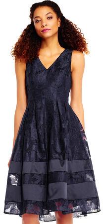 Burnout Jacquard Fit and Flare Dress with V-Neckline