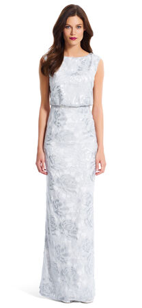 Floral Sequin Blouson Gown