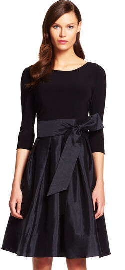 Fit and Flare Dress with Stone Accented Open Sleeves