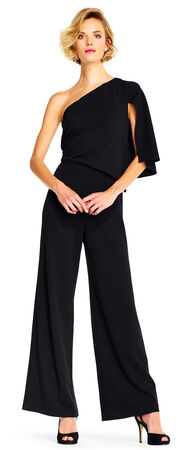 One Shoulder Crepe Jumpsuit with Split Flutter Sleeve