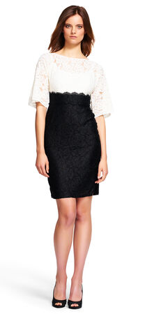 Contrast Lace Sheath Dress with Kimono Sleeves