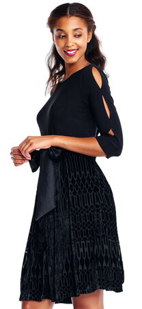 Three Quarter Sleeve Fit and Flare Dress with Deco Velvet Burnout Skirt