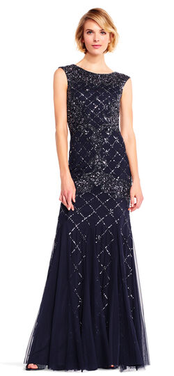 Retro Style Dresses Fully Beaded Sleeveless Godet Gown $320.00 AT vintagedancer.com
