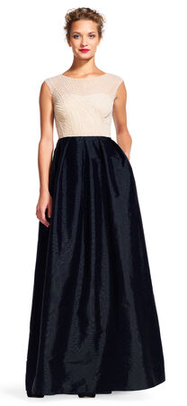 Taffeta Dress with Cap Sleeve Pearl Beaded Bodice