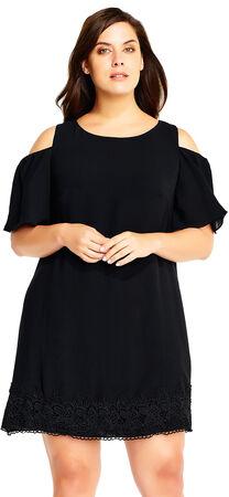 Cold Shoulder Crepe Shift Dress