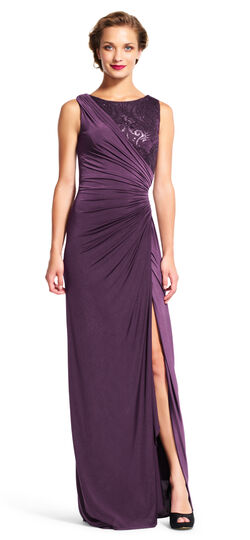 Draped Gown with Embroidered Sequin Lace Bodice