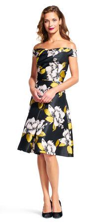 Off The Shoulder Floral Print Midi Dress