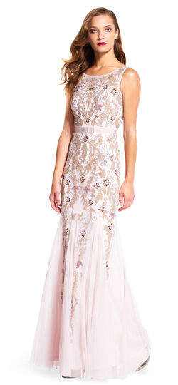 Floral Beaded Godet Gown with Sheer Neckline