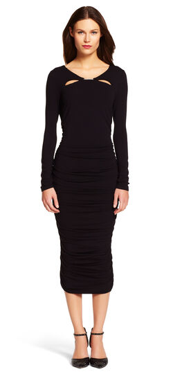 Scoop Neck Long Sleeve Shirred Dress