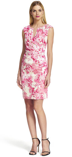 Side Wrap Pleated Floral Print Dress
