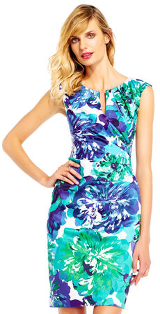 Tropical Floral Cap Sleeve Sheath Dress with Split Neckline