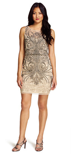 Sleeveless Blouson Beaded Cocktail Dress $134.55 AT vintagedancer.com