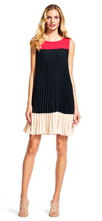 Colorblock Pleated Shift Dress