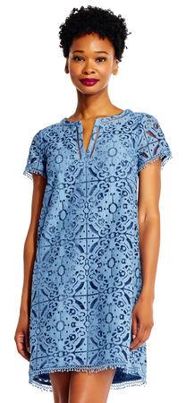 Margot Medallion Lace Shift Dress with Split V-Neck