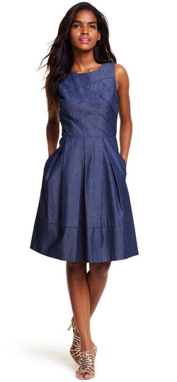 Chambray Dress with Cross-over Banded Bodice