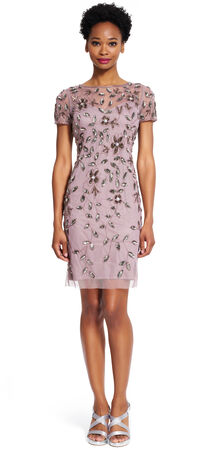 Floral Beaded Cocktail Dress
