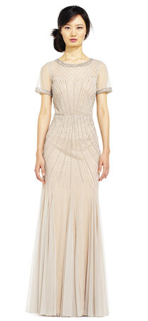 Short Sleeve Beaded Godet Dress with Sheer Details