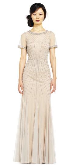 Short Sleeve Beaded Godet Dress with Sheer Details