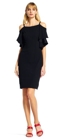 Off The Shoulder Sheath Dress with Ruffle Sleeves