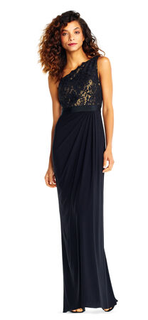 One Shoulder Draped Column Gown with Metallic Lace Bodice