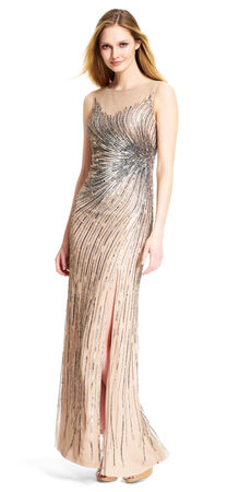 Beaded Mermaid Gown with Slit